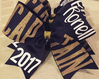 Personalized Cheerleading Hair Bow - Custom Captain Cheer Bows - Cheer Bow With Name - Competition Bow With Glitter - cheer bow - comp bow