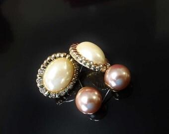 Vintage De-Stash Bulk Lot 2 Pr Faux Pearl Pierced Earring Oval Shape Pearls in Ice Rhinestone Gold Tone Base & Nude Pink Round Ball Studs