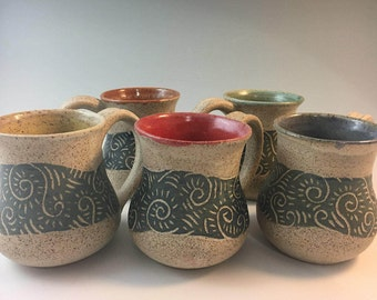Handmade Pottery Coffee Mugs, Pottery Mug , Stoneware Mugs, Sgraffito, Handmade Mugs, Blue, Green, Yellow,  Red, Purple, Pottery, Stoneware