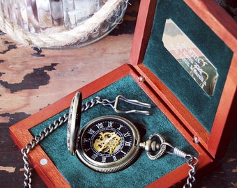 Engraved Steampunk mechanical pocket watch groomsmen gifts - free UK shipping