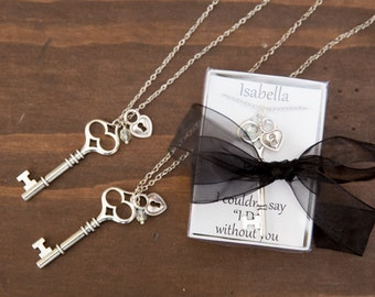 Bridesmaid Key Necklace, Bridal Party Necklace, Bridesmaid Proposal Gift, Quincinera gift necklace, Bridesmaid Jewelry,  Personalized Gift