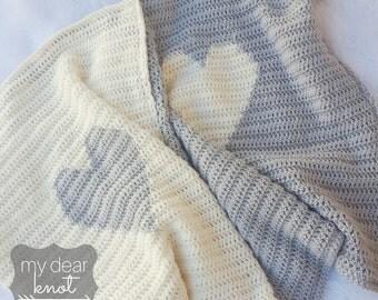 Heart Crochet Blanket Pattern/ Heart Pattern/ Heart Blanket Pattern