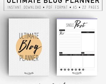 ULTIMATE Blog Planner, Printable A5 Blog Planner, Planner and Organizers, PDF Instant download