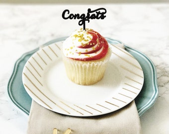 Congrats Appetizer Picks,Cupcake Toppers,Engagement Party,Graduation,Congratulations,Celebrate,Cupcakes,Bridal Shower,Acrylic,Laser Cut,4 Ct