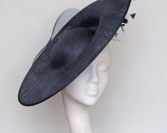 Navy Blue Disc Fascinator Kentucky Derby Hat, Royal Ascot Hat, Mother of the Bride Hat