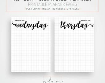 Printable planner, A5 planner, 2017 printable, Graph grid, Bullet journal, Bujo, Daily planner, Daily agenda, Day per page, A5 inserts