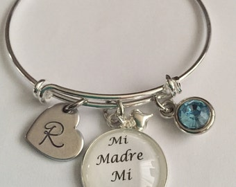 Spanish Mi Madre Mi Amiga-bangle bracelets cabochon