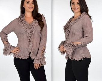 ComfyPlus Blouse, Crinkle Blouse, Artsy Blouse, Ruffle Blouse,High End Blouse, Plus Size Top, Plus size clothing, 1XL,2XL,3XL