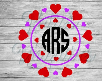 Heart Circle Valentines Monogram (No font/letters!) SVG DXF PNG Digital Cut File for use with cutting machines Cricut Silhouette