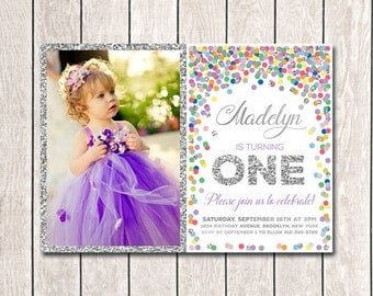 1st Birthday Invitation With Photo Girl Birthday Invites Printable Rainbow And Silver Girl Photo Invitation Colorful Confetti Birthday Party