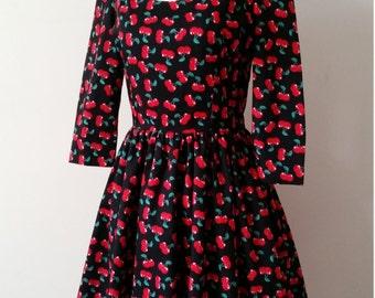 Cherry print 50's style dress