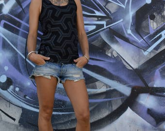 TANK TOP RUBBER all over print geometric pattern limited edition