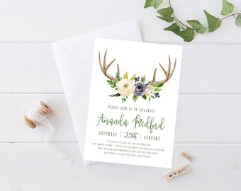 Woodland Baby Shower Invitation Boy, Deer, Antler, Blue and Green Flowers Printable Invite (849)