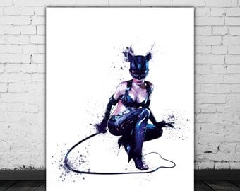 Catwoman Art, DC Comics Wall Art, Watercolor Cat Woman Print, Batman Returns, Comic Book Art, Movie Lover Gift, Sexy Art, Bad Girl DC Print