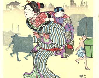 """Japanese Ukiyoe, Woodblock print, Kuniyoshi, """"Morning Mist at Komagata"""""""