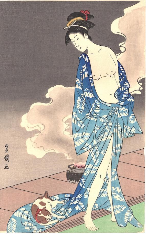 "Japanese Ukiyo-e Woodblock print, Toyokuni, ""Woman with a cat"""