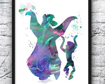 The Jungle Book Watercolor, Mowgli and Baloo Dancing, Disney Watercolor Painting, Kids Room Decor, Nursery Decor, Wall Art, Home Decor - 182