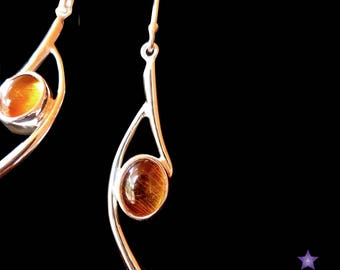 AMBER Earrings - Genuine Gemstone Earrings set in Sterling Silver