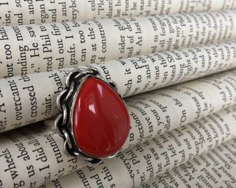 SALE***Sterling Silver Pear Shaped Coral Ring