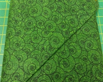 Four Seasons fabric. Green circles dots modern shell scrolls abstract. quilters cotton quilting Exclusively Quilters 2453