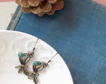 Butterfly Earrings with Turquoise charm, Dainty Earrings, Gifts under 10, Dragonfly Earring, Drop Earrings, Everyday Earrings Gifts for Mom
