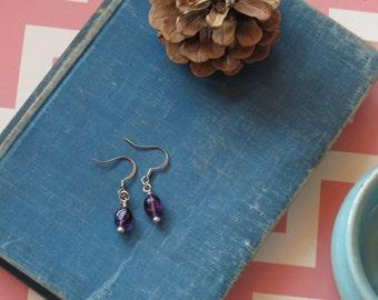 Amethyst Earrings, Beaded Earrings, Simple Earrings, Drop Earrings, Dainty Jewelry, Everyday Earring, Bridesmaid Gift, Purple, OOAK
