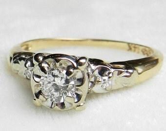 Art Deco Engagement Ring Art Deco Vintage Ring 0.22cttw 14k white gold 14k yellow gold ring Orange Blossom Diamond Engagement