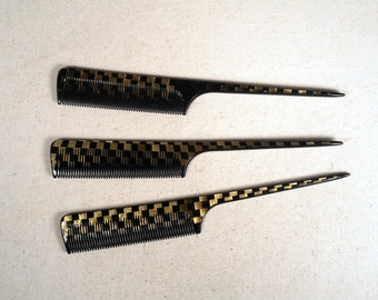 fabulous vintage lot 3 hairs combs peignes 1960 carved hand made france rare