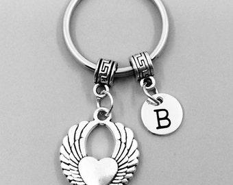 Winged heart Keychain, Winged heart Keychains, Best Friend Keychains, Winged heart Keyring, Winged heart Key Rings, Custom Charm Keychain