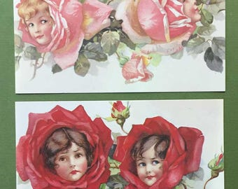 Flower Faces New Victorian Style Postcard Set of 2