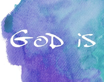 Inspirational Signs and Sayings, Love Wall Art For Bedroom, God Is Love, Scripture Sign Decor, Watercolor Purple Teal  Crafty Tribe 2017SA3H