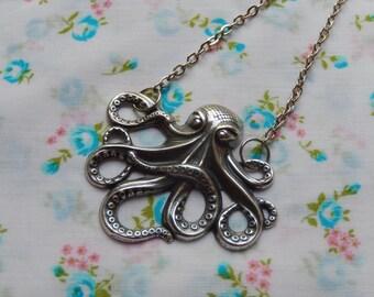 Octopus Antique Silver Pendant Charm Necklace