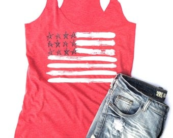 4th of July Tank Top | Womens 4th of July Tank | 4th of July Shirt | Red White Blue Tank Top | 4th of July Flag Shirt | USA Tank Top