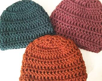 Crochet Hat - Teal, Purple, or Burnt Orange Beanie