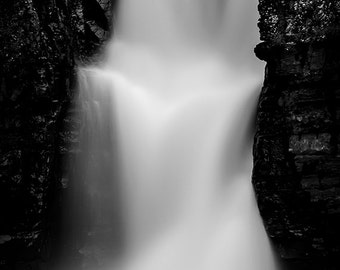 Waterfalls canvas, black and white photography, fine art photography, canvas wall art, abstract, peaceful, large,scenic, 16x24, 24x36, 32x48