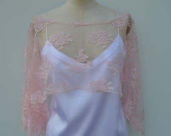 Clearance 30% burp bridal lace, pink bridal lace poncho, cape lace pink