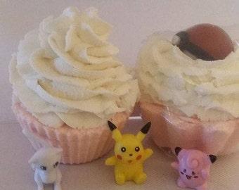 Handcrafted Pokemon Bath Bomb Bubble Cupcake with Pokemon hidden inside