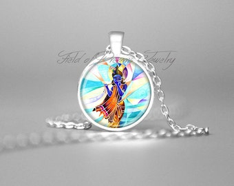 KRISHNA PAINTING KRISHNA Necklace Spiritual Necklace Krishna Jewelry Abstract Art Krishna Pendant Hindu God Krishna Pendant Deity Krishna