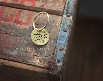 Camper keychain | Home Is Where We Park It, Camping Gift, hand stamped airstream
