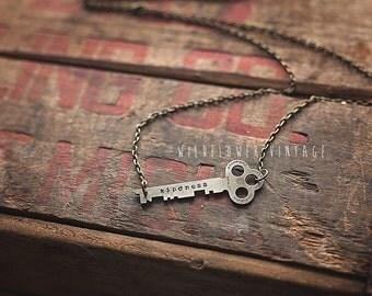 Kindness Key Necklace | Hand Stamped Vintage, Repurposed, Sideways, Horizontal lowercase typewriter