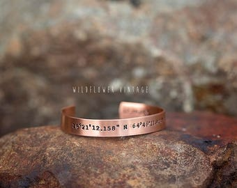 Coordinates Copper Cuff Bracelet | GPS Location Wedding Newlywed Gift Jewelry Hand Stamped Personalized Valentine's Day
