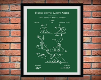 Patent 1865 John Deere Plow - Art Print or Poster - Wall Art - Agriculture Art - Farming - Farm Equipment Patent