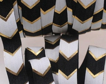 "5/8"" Black and White Gold Foil Chevron Metallic Wide Arrow DIY Headband Supplies Fold Over Elastic FOE per Yard"