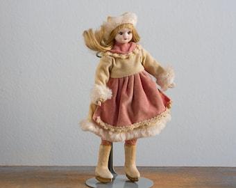 Vintage Bisque Porcelain Ice Skating Doll