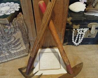 Vintage Garden Tool / Rustic Garden Decor / Red Garden Tools / Garden Fork And Spade