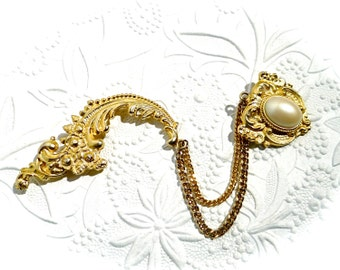 Vintage Gold Double Brooch Victorian Brooch Vintage Jewelry VA-205