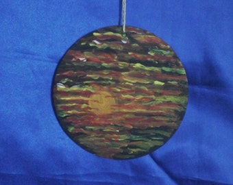 Sunset on Welsh Slate Hand painted Wall hanging plaque.