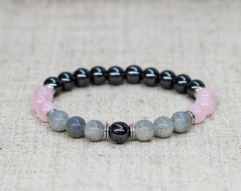 Unisex bracelet Labradorite bracelet Rose quartz jewelry Gemstone bracelet Reiki healing bracelet Stretch bracelet Birthday gift-for-friend