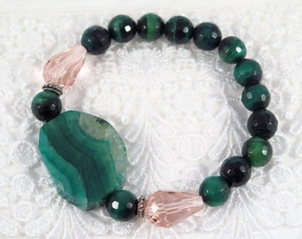 Emerald green banded agate with emerald green tiger eye, Stretch bracelet  #121B