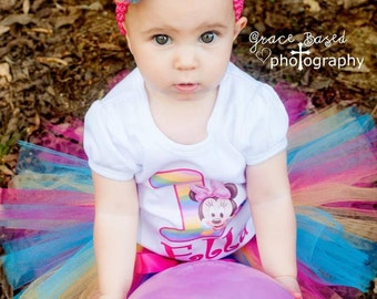 Minnie Mouse 1st Birthday Outfit, Baby Minnie Mouse Tutu Set, ANY AGE and NAME, Custom Baby Minnie Tutu,  First Birthday Tutu and Tee Tshirt